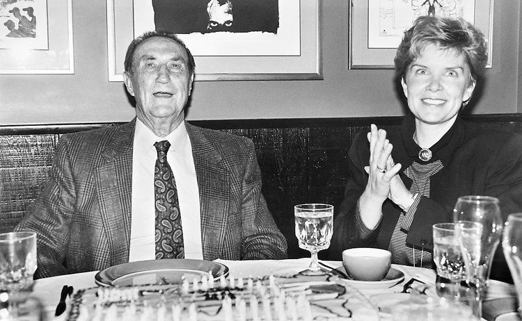 Sen. James Strom Thurmond, R-S.C., and his wife, Nancy Janice Moore, celebrate his 88th birthday with a party at Dominique. December 5, 1990 (Photo by Anthony Marill/CQ Roll Call)