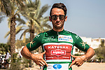 Nathan Haas (AUS) Team Katusha-Alpecin sporting the Green Jersey at sign on before the start of Stage 4 of the 2018 Tour of Oman running 117.5km from Yiti (Al Sifah) to Ministry of Tourism. 16th February 2018.<br /> Picture: ASO/Muscat Municipality/Kare Dehlie Thorstad | Cyclefile<br /> <br /> <br /> All photos usage must carry mandatory copyright credit (&copy; Cyclefile | ASO/Muscat Municipality/Kare Dehlie Thorstad)