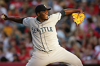 Seattle Mariners pitcher Michael Pineda #36 pitches against the Los Angeles Angels at Angel Stadium on July 9, 2011 in Anaheim,California. (Larry Goren/Four Seam Images)