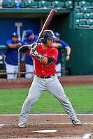 Carlos Perez (7) of the Great Falls Voyagers at bat against the Ogden Raptors in Pioneer League action at Lindquist Field on August 17, 2016 in Ogden, Utah. Ogden defeated Great Falls 5-2. (Stephen Smith/Four Seam Images)