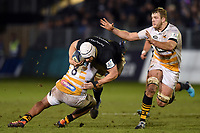 Dave Attwood of Bath Rugby takes on the Wasps defence. Heineken Champions Cup match, between Bath Rugby and Wasps on January 12, 2019 at the Recreation Ground in Bath, England. Photo by: Patrick Khachfe / Onside Images
