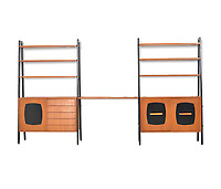 BNPS.co.uk (01202 558833)<br /> Pic: Barnebys/BNPS<br /> <br /> Teak book shelves and cabinet &pound;3,000.<br /> <br /> Ikea is famous for its low-cost furniture but vintage products from the budget retailer are now selling for up to &pound;50,000. <br /> <br /> The shockingly high prices are a result of a burgeoning market for furniture from the second half of the 20th century, when IKEA made its name. <br /> <br /> Within the last year the value of the Swedish manufacturer's most iconic designs have rocketed past their retail cost. <br /> <br /> Recently IKEA's 1944 'mushroom' or 'clam chair', measuring 30ins by 30ins, sold for &pound;50,000 - more than any other individual IKEA product on the market today.