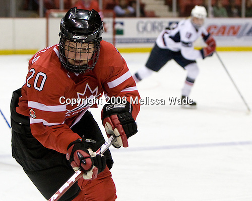 Jennifer Wakefield (Canada - 20) - Team USA defeated Team Canada 4-3 (so) to win the 2008 Four Nations Cup on Sunday, November 9, 2008, in the 1980 Rink in Lake Placid, New York.