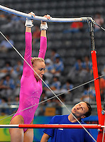 Aug. 7, 2008; Beijing, CHINA; Nastia Liukin (USA) performs on the uneven bars under guidance from her father Valeri Liukin during womens gymnastics training prior to the Olympics at the National Indoor Stadium. Mandatory Credit: Mark J. Rebilas-