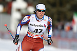 Erica Antoniol in action at the sprint qualification of the FIS Cross Country Ski World Cup  in Dobbiaco, Toblach, on January 14, 2017. Credit: Pierre Teyssot