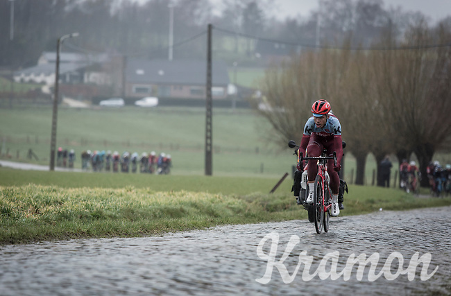 Tony Martin (GER/Katusha Alpecin) leading on the cobbles of Mariaborrestraat. <br /> <br /> <br /> 73th Dwars Door Vlaanderen (1.UWT)<br /> 1day race: Roeselare › Waregem BEL (180km)