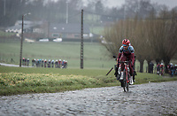 Tony Martin (GER/Katusha Alpecin) leading on the cobbles of Mariaborrestraat. <br /> <br /> <br /> 73th Dwars Door Vlaanderen (1.UWT)<br /> 1day race: Roeselare &rsaquo; Waregem BEL (180km)
