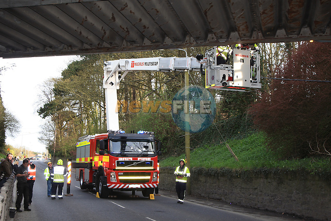 The scene of the accident at the railway bridge on the Dublin road..Picture: Fran Caffrey / www.newsfile.ie.