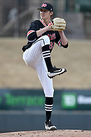 Starting pitcher Matthew Dailey (35) of the North Greenville Crusaders earned his first win of the season in a game against the Queens University Royals on Tuesday, March 12, 2019, at Fluor Field at the West End in Greenville, South Carolina. North Greenville won, 14-3. (Tom Priddy/Four Seam Images)