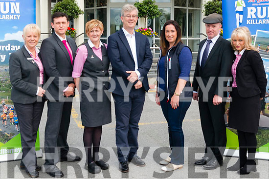 l-r Geraldine Tangney, Sergej nimzuk, Maura O'Connor, Patrick O'Donoghue, Catriona Kelly, Michael Healy Rae and Caroline Papin pictured at the launch of The Gleneagle Run Killarney last Monday.
