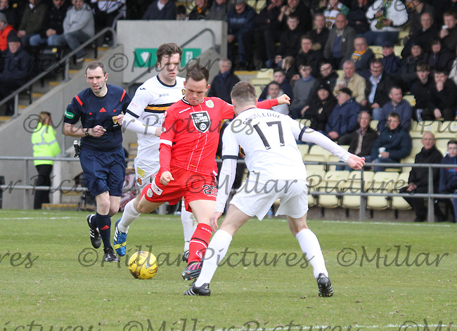 Lawrence Shankland shooting in the Dumbarton v St Mirren Scottish Professional Football League Ladbrokes Championship match played at The Cheaper Insurance Direct Stadium, Dumbarton on 23.4.16.
