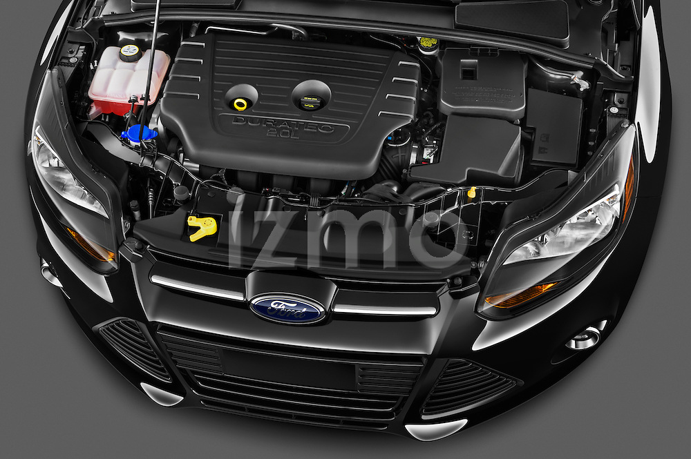 High angle engine detail of a 2012 Ford Focus Hatchback Titanium  Stock Photo