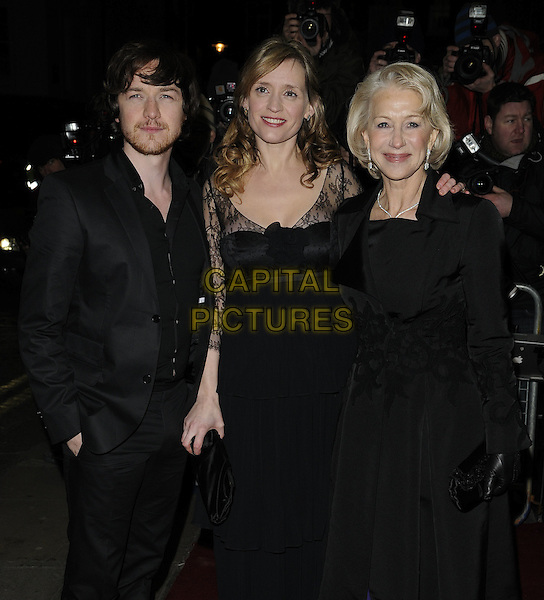 JAMES McAVOY, ANNE MARIE DUFF & DAME HELEN MIRREN.The UK Premiere of 'The Last Station' at The Curzon Mayfair Cinema, London, England..January 26th 2010.half length black jacket dress lace clutch bag married husband wife beard facial hair maxi suit hand in pocket coat velvet gloves.CAP/CAN.©Can Nguyen/Capital Pictures.