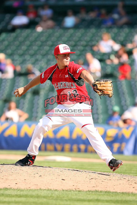 August 18 2008:  Michael Dedrick (12) of the Team One team during the 2008 Under Armour All-American Game at Wrigley Field in Chicago, IL.  Photo by:  Mike Janes/Four Seam Images