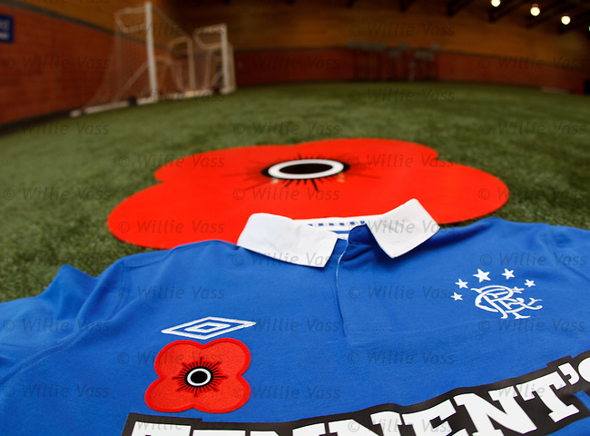 The Rangers poppy strip for tomorrows SPL match and Remembrance weekend