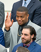 New England Patriots defensive end Trey Flowers (98) acknowledges the call-out from United States President Donald J. Trump as the Super Bowl Champion New England Patriots were welcomed to the South Lawn of White House in Washington, DC on Wednesday, April 19, 2917.<br /> Credit: Ron Sachs / CNP<br /> (RESTRICTION: NO New York or New Jersey Newspapers or newspapers within a 75 mile radius of New York City)