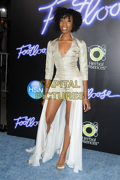 "Enisha Brewster.""Footloose"" Los Angeles Premiere held at the Regency Village Theatre, Westwood, California, USA..October 3rd, 2011.full length white silver dress train playsuit dress snakeskin.CAP/ADM/BP.©Byron Purvis/AdMedia/Capital Pictures."