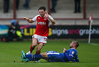 Fleetwood Town's Joe Maguire competing with Carlisle United's Gary Liddle <br /> <br /> Photographer Andrew Kearns/CameraSport<br /> <br /> The Carabao Cup First Round - Fleetwood Town v Carlisle United Kingdom - Tuesday 8th August 2017 - Highbury Stadium - Fleetwood<br />  <br /> World Copyright &copy; 2017 CameraSport. All rights reserved. 43 Linden Ave. Countesthorpe. Leicester. England. LE8 5PG - Tel: +44 (0) 116 277 4147 - admin@camerasport.com - www.camerasport.com