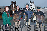SADDLES: gathering their bits for their horses as they prepare to take part in the Kerry Harriers Pony Club, Hunt on Sunday in Ballyheiguel-r: Megan Keane, Brenda O'Donoghue, Henry O'Donoghue and John Kelly (Listowel).
