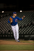 AZL Cubs 1 relief pitcher Jack Patterson (63) follows through on his delivery during an Arizona League game against the AZL Cubs 1 at Sloan Park on June 28, 2018 in Mesa, Arizona. The AZL Athletics defeated the AZL Cubs 1 5-4. (Zachary Lucy/Four Seam Images)