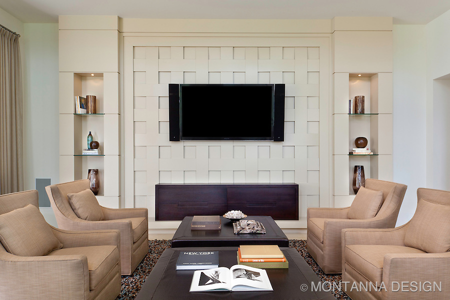 Unique woven wood built in cabinet media wall
