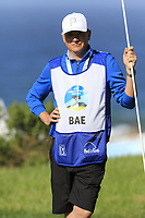 Caddy Basile on the 6th green of Monterey Peninsula CC during Saturday's Round 3 of the 2018 AT&amp;T Pebble Beach Pro-Am, held over 3 courses Pebble Beach, Spyglass Hill and Monterey, California, USA. 10th February 2018.<br /> Picture: Eoin Clarke | Golffile<br /> <br /> <br /> All photos usage must carry mandatory copyright credit (&copy; Golffile | Eoin Clarke)