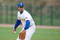 10 Aug 2007: Sylvain Meurant pitches against Rouen during game 1 of the french championship finals between Templiers (Senart) and Huskies (Rouen) in Chartres, France. Templiers beat Huskies 1-0.