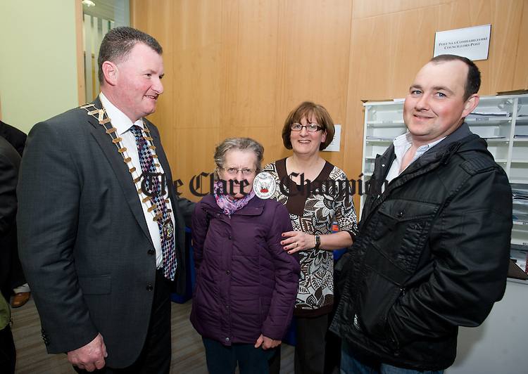 Mayor of Clare Pat Hayes with Ellen Rochford, Mary Noonan and Brendan Rochford, a grand nephew of Mary Agatha Glynn, at the unveiling of a plaque in Aras An Chlair to commemorate three Clare passengers on the Titanic. Photograph by John Kelly.