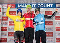 Picture by Allan McKenzie/SWpix.com - 10/12/17 - Cycling - HSBC UK National Cyclo-Cross Championships - Round 5, Peel Park - Bradford, England - Women's Elite podium Ffion James (Abergavenny RC), Bethany Crumpton (Storey Racing),  Amira Mellor (PH-MAS Paul Milnes Cycles).