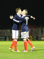 Lewis MacLeod and Barrie McKay (right) cellebrate McKay's goal in the Scotland v Armenia UEFA European Under-19 Championship Qualifying Round match at New Douglas Park, Hamilton on 9.10.12.