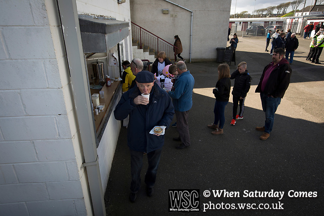 Arbroath 0 Edinburgh City 1, 15/03/2017. Gayfield Park, SPFL League 2. Fans buying refreshments during the first-half at Gayfield Park as Arbroath hosted Edinburgh City (in yellow) in an SPFL League 2 fixture. The newly-promoted side from the Capital were looking to secure their place in SPFL League 2 after promotion from the Lowland League the previous season. They won the match 1-0 with an injury time goal watched by 775 spectators to keep them 4 points clear of bottom spot with three further games to play. Photo by Colin McPherson.