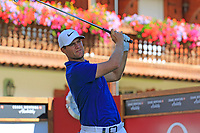 Lucas Bjerregaard (DEN) tees off the 17th tee during Sunday's Final Round 4 of the 2018 Omega European Masters, held at the Golf Club Crans-Sur-Sierre, Crans Montana, Switzerland. 9th September 2018.<br /> Picture: Eoin Clarke | Golffile<br /> <br /> <br /> All photos usage must carry mandatory copyright credit (© Golffile | Eoin Clarke)