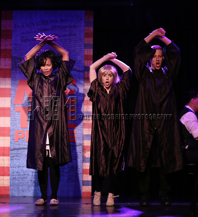 Aiesha Dukes, Mia Weinberger and Mitchel Kawash perform onstage during the 'ME THE PEOPLE: The Trump America Musical' Press Preview Presentation at The Triad Theater on June 21, 2017 in New York City.
