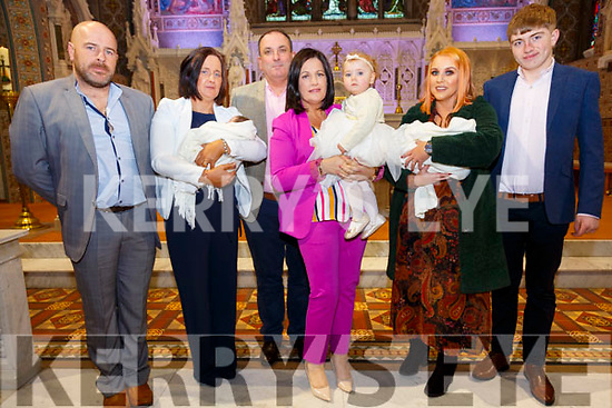 Twins Isabella & Olivia with their parents Michael & Mary O'Donoghue, Listowel and god parents Michael Griffin, Geraldine King, Jody Murphy & Daniel Allen and sister Masie who were christened in St. Mary's Church, Listowel by Canon Declan O'Connor on Saturday last.