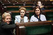 WARSAW, POLAND, December 25, 2016:  Members of Civic Platform are sitting in the plenary hall. Polish opposition MP's from Civic Platform and Modern parties have been occupying the Sejm, Polish parliament since December 16 in protest to the government's curbing of free press access to the parliament.<br /> (Photo by Polish opposition MP for Piotr Malecki / Napo Images)****WARSZAWA, 25/12/2016:<br /> Poslanki opozycji parlamentarnej siedza na sali plenarnej podczas okupacji Sejmu przez opozycje. n/z od lewej Beata Malecka-Libera, Iwona Sledzinska-Katarasinska, Malgorzata Kidawa Blonska.<br /> Fot: Poslanka opozycji dla Piotra Maleckiego / Napo Images<br /> ****<br /> ###ZDJECIE MOZE BYC UZYTE W KONTEKSCIE NIEOBRAZAJACYM OSOB PRZEDSTAWIONYCH NA FOTOGRAFII### ### Cena zdjecia w/g cennika FORUM plus 50% (cena minimalna 100 PLN)