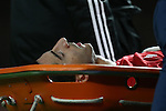 Henrikh Mkhitaryan of Manchester United closes his eyes as he is stretchered off injured during the English Premier League match at Old Trafford Stadium, Manchester. Picture date: December 11th, 2016. Pic Simon Bellis/Sportimage