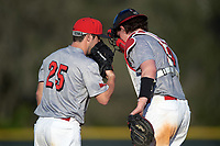 Illinois State Redbirds relief pitcher Jack Czeszewski (25) talks with catcher Nick Zouras (14) during a game against the Ohio State Buckeyes on March 5, 2016 at North Charlotte Regional Park in Port Charlotte, Florida.  Illinois State defeated Ohio State 5-4.  (Mike Janes/Four Seam Images)