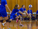 2 November 2014: Yeshiva University Maccabee Defensive Specialist Carol Jacobson (right), a Senior from Seattle, WA, in action against the Sarah Lawrence Gryphons at SUNY Purchase College, in Purchase, NY. The Maccabees defeated the Gryphons 3-2 in the NCAA Division III Women's Volleyball Skyline matchup. Jacobson ended her 2014 season with 69 Digs and 12 Aces for the Lady Macs. Mandatory Credit: Ed Wolfstein Photo *** RAW (NEF) Image File Available ***