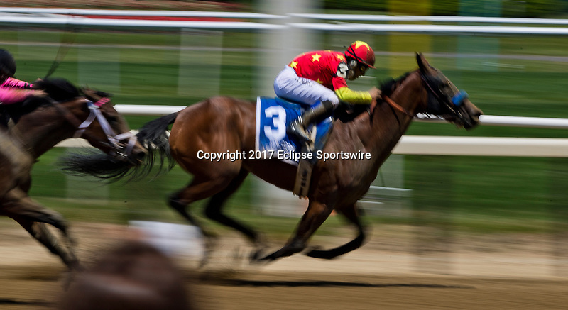 ELMONT, NY - JUNE 10: Abel Tasman #3, ridden by Mike Smith, wins the Acorn Stakes on Belmont Stakes Day at Belmont Park on June 10, 2017 in Elmont, New York (Photo by Scott Serio/Eclipse Sportswire/Getty Images)
