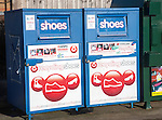 Shoe recycling collection containers at a Tesco store, UK