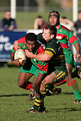 P. Tavia is tackled by K. Farrell. Counties Manukau Premier Club Rugby, Pukekohe v Waiuku  played at the Colin Lawrie field, on the 3rd of 2006.Pukekohe won 36 - 14