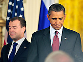 United States President Barack Obama, right, and President Dmitry Medvedev of the Russian Federation, right, arrive to conduct a joint press conference with  in the East Room of the White House in Washington, D.C. on Thursday, June 24, 2010..Credit: Ron Sachs / CNP
