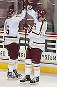 Cam Spiro (BC - 15), Kevin Hayes (BC - 12) - The Boston College Eagles defeated the visiting St. Francis Xavier University X-Men 8-2 in an exhibition game on Sunday, October 6, 2013, at Kelley Rink in Conte Forum in Chestnut Hill, Massachusetts.