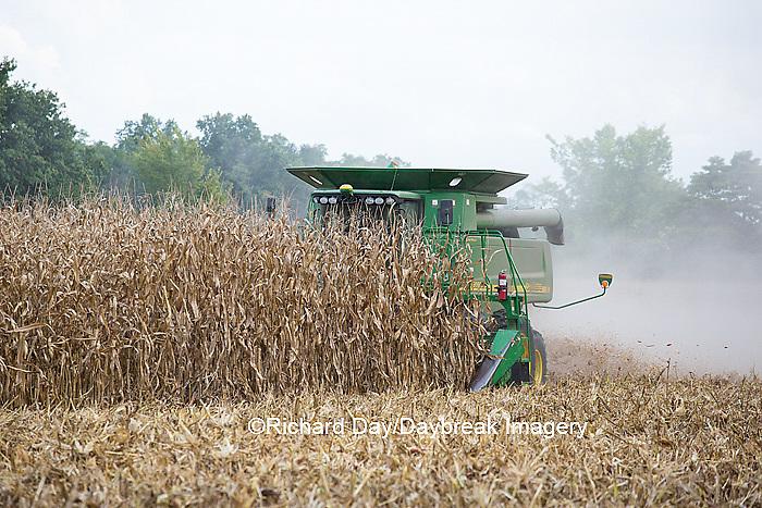 63801-07020 Farmer harvesting corn, Marion Co., IL