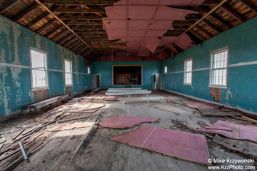 Inside view of old abandoned school house near Hemingford, NE