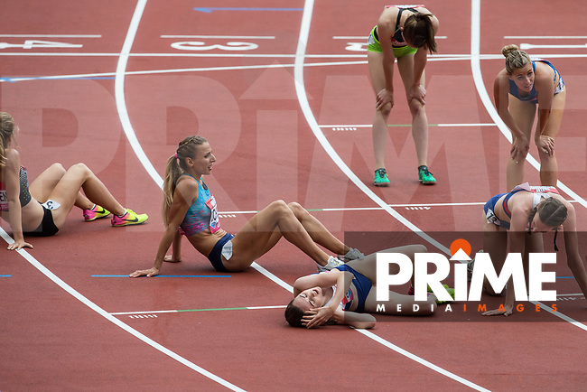 Laura MUIR of GBR collapses to the floor after gain a PB of 4.18.03 in the Women's 1 Mile race finishing 2nd during the Muller London Anniversary Games 2017 at the Queen Elizabeth Park, Olympic Park, London, England on 9 July 2017.  Photo by Andy Rowland.