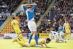 St Johnstone v Hearts…17.09.16.. McDiarmid Park  SPFL<br />Murray Davidson reacts to his bad miss<br />Picture by Graeme Hart.<br />Copyright Perthshire Picture Agency<br />Tel: 01738 623350  Mobile: 07990 594431