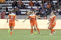 Houston, TX - Saturday Sept. 03, 2016: Kealia Ohai celebrates scoring, Andressa Machry during a regular season National Women's Soccer League (NWSL) match between the Houston Dash and the Orlando Pride at BBVA Compass Stadium.