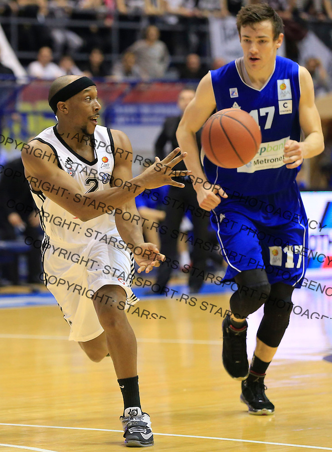 Kosarka ABA League season 2014-2015<br /> Partizan v Zadar<br /> Josh Akognon (L) and Marko Ramljak<br /> Beograd, 15.03.2015.<br /> foto: Srdjan Stevanovic/Starsportphoto&copy;