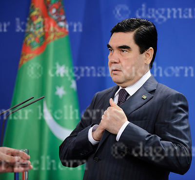 August 29-16,Chancellery,Berlin,Germany<br /> Turkmen President Gurbanguly Berdimukhamedov,after discussing selling gas to European Union countries, during a joint news conference with German Chancellor Angela Merkel.